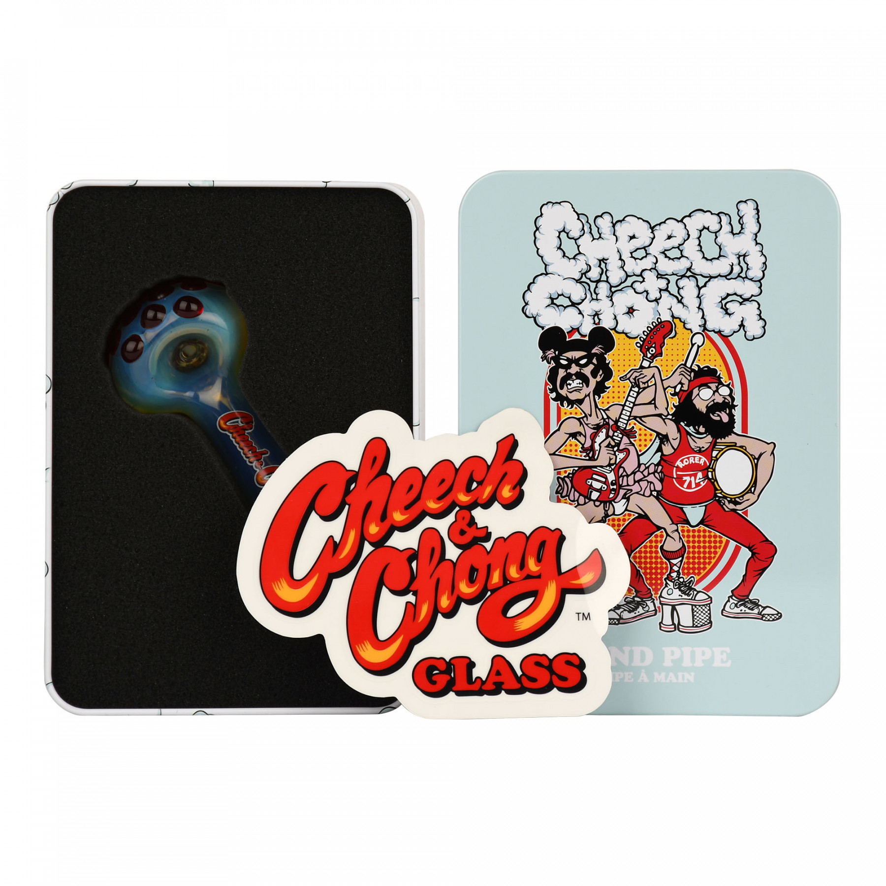 Cheech & Chong Earache My Eye Hand Pipe in a Collectible Tin