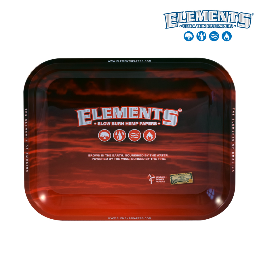 Elements Red Metal Rolling Tray - Large