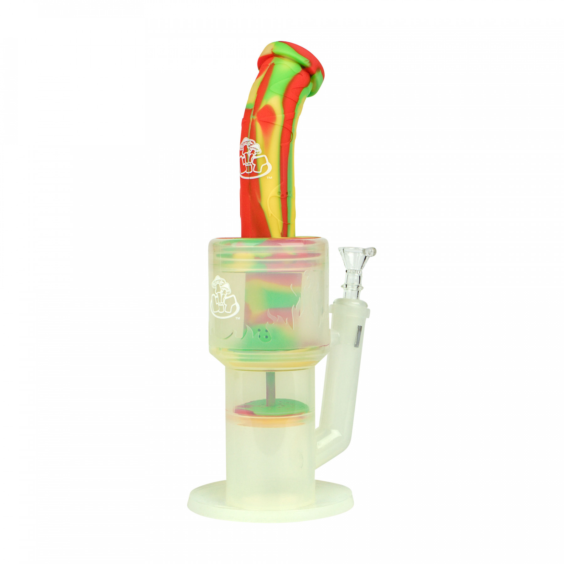"""LIT™ Silicone 12"""" Dual Perc Clear Silicone Water Pipe"""