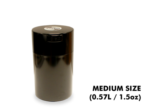 TightVac Medium Cases - Black with Black Cap