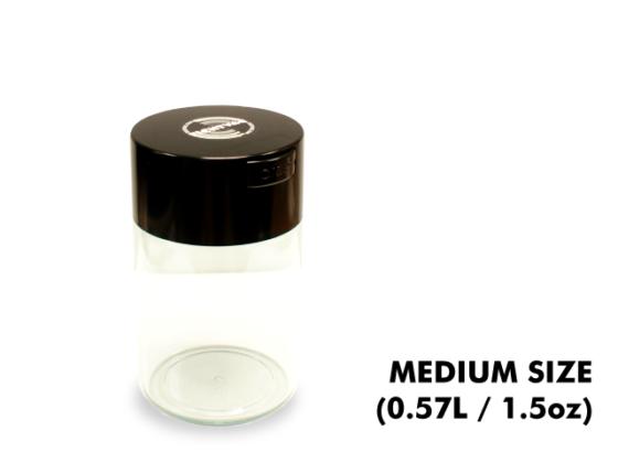 TightVac Medium Cases - Clear with Black Cap