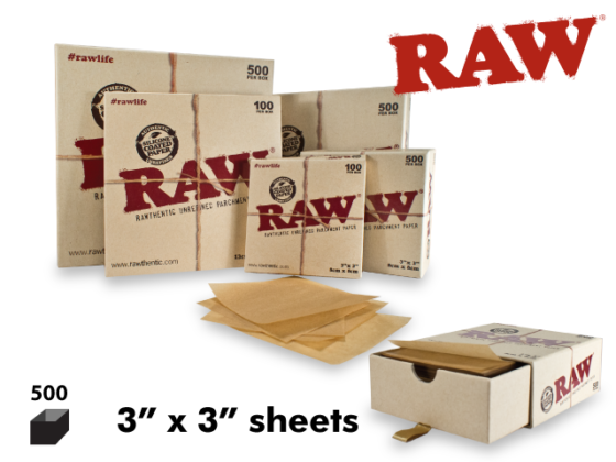 """Raw Parchment Paper - 3"""" x 3"""" Sheets, 500 Pack"""