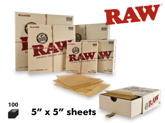 """Raw Parchment Paper - 5"""" x 5"""" Sheets, 100 Pack"""